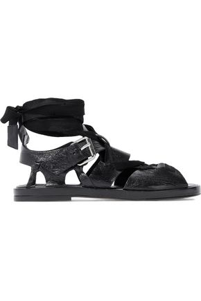 IRO Lace-up textured patent-leather sandals