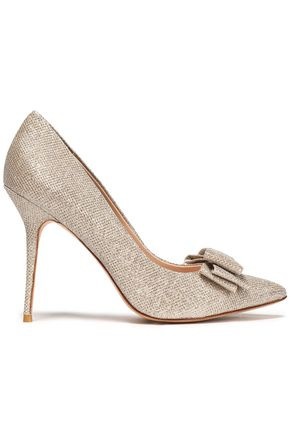 LUCY CHOI London Bow-embellished metallic woven pumps