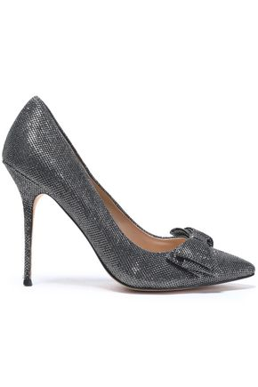 LUCY CHOI London Bow-embellished sequined leather pumps