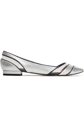 LUCY CHOI London PVC-paneled textured-leather point-toe flats