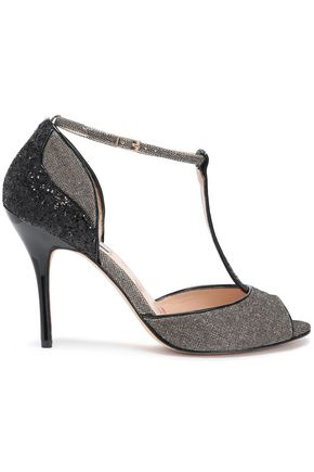 LUCY CHOI London Glittered leather and woven sandals