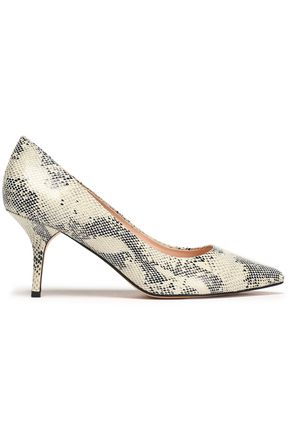 LUCY CHOI London Snake-effect leather pumps