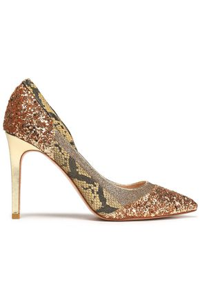 LUCY CHOI London Glittered and patent-leather pumps