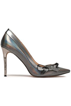 LUCY CHOI London Bow-embellished iridescent lizard-effect leather pumps