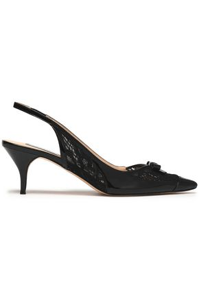 LUCY CHOI London Bow-embellished patent-leather and lace slingback pumps