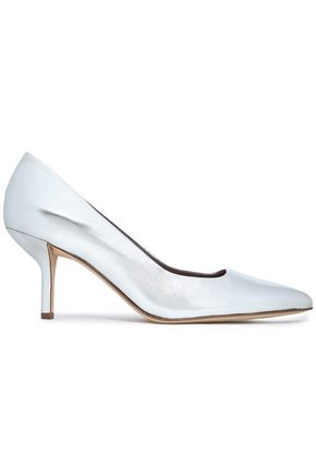 DIANE VON FURSTENBERG Metallic leather pumps