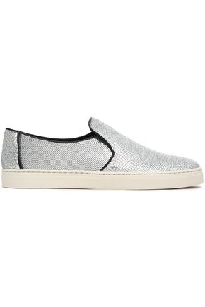 DIANE VON FURSTENBERG Sequinned leather slip-on sneakers