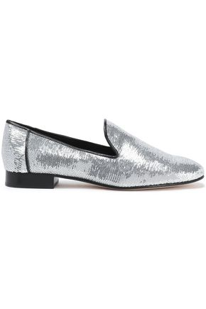 DIANE VON FURSTENBERG Sequinned leather slippers