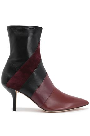 DIANE VON FURSTENBERG Color-block suede and leather ankle boots
