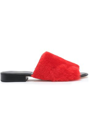 DIANE VON FURSTENBERG Leather-trimmed shearling slides