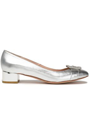 LUCY CHOI London Buckle-embellished metallic leather pumps