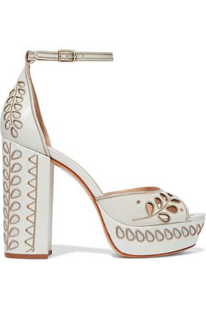 RACHEL ZOE Laser-cut embroidered leather platform sandals