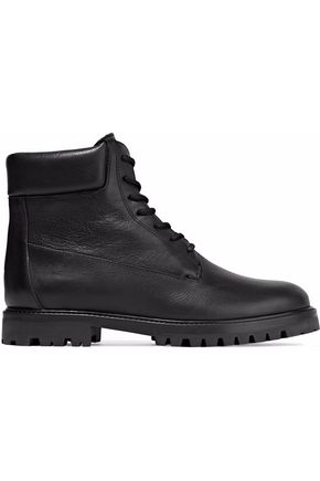 WOMAN FARLEY TEXTURED-LEATHER BOOTS BLACK