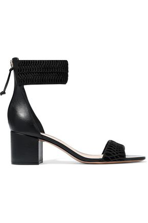RACHEL ZOE Macramé, leather and suede sandals