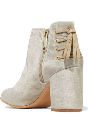 RACHEL ZOE Lace-up leather-trimmed velvet ankle boots