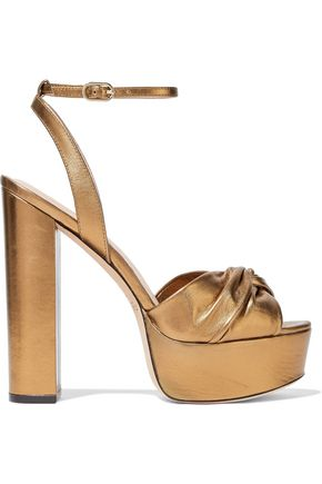 RACHEL ZOE Knotted metallic leather platform sandals