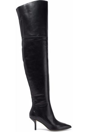DIANE VON FURSTENBERG Glossed-leather over-the-knee boots