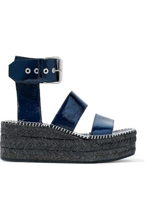 RAG & BONE Tara crinkled patent-leather platform espadrille sandals