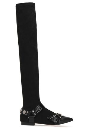 ISABEL MARANT Buckled suede, smooth and glossed-leather over-the-knee boots