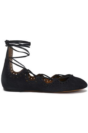 ISABEL MARANT Embellished lace-up suede ballet flats