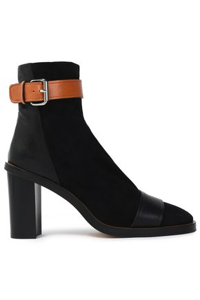 ISABEL MARANT Buckled leather and suede ankle boots