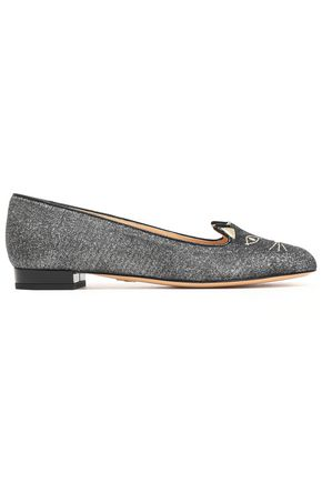 CHARLOTTE OLYMPIA Kitty embroidered metallic woven ballet flats