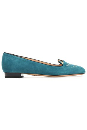 CHARLOTTE OLYMPIA Patent leather-trimmed embroidered suede ballet flats