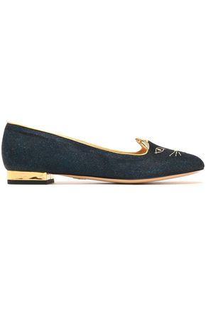 CHARLOTTE OLYMPIA Leather-trimmed embroidered glittered velvet slippers