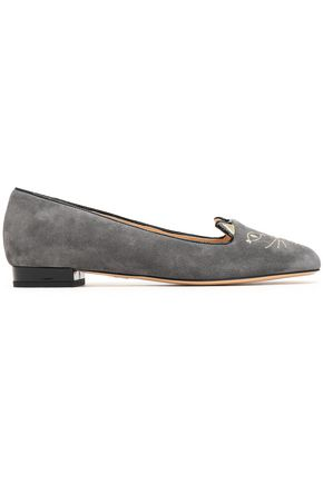 CHARLOTTE OLYMPIA Leather-trimmed embroidered suede slippers