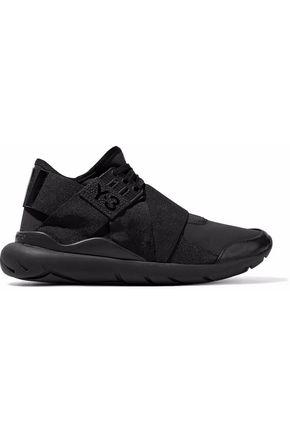 Y-3 +adidas Originals Qasa Elle Lace leather-trimmed neoprene slip-on sneakers