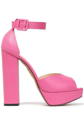 CHARLOTTE OLYMPIA Eugenie pebbled-leather platform sandals