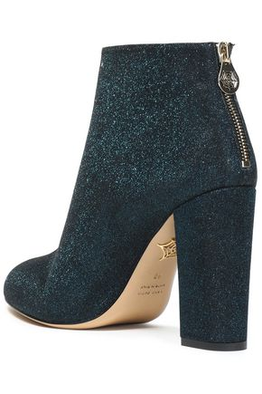 CHARLOTTE OLYMPIA Glittered leather ankle boots