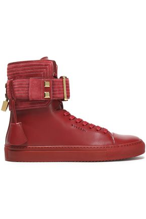 BUSCEMI Embellished suede-trimmed leather high-top sneakers