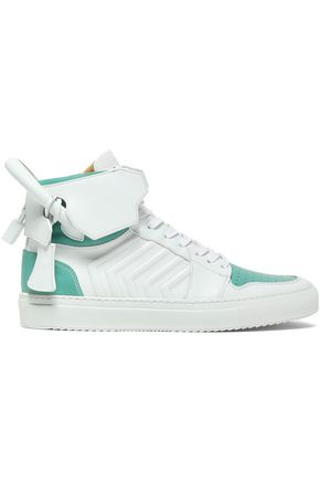 BUSCEMI Embellished two-tone leather high-top sneakers