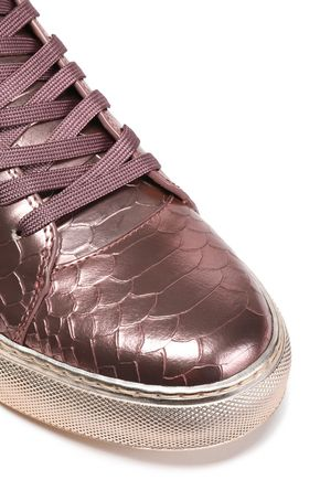 BUSCEMI Embellished metallic snake-effect leather high-top sneakers