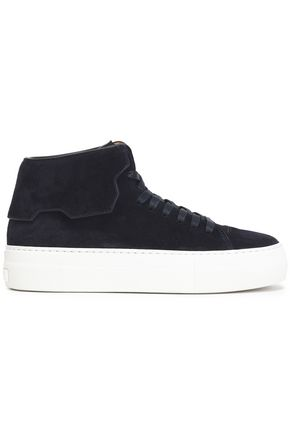 BUSCEMI Layered suede high-top sneakers