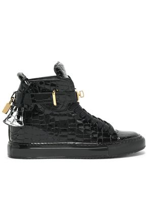 BUSCEMI Embellished croc-effect leather sneakers