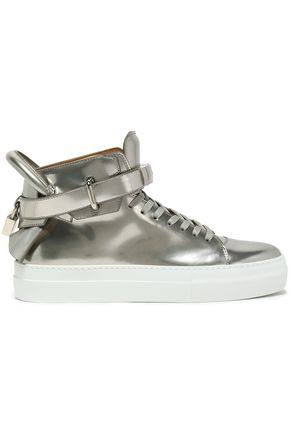 BUSCEMI Embellished patent-leather high-top sneakers