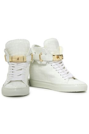 5bc81d9f2f700b ... BUSCEMI Embellished croc-effect patent-leather high-top sneakers ...