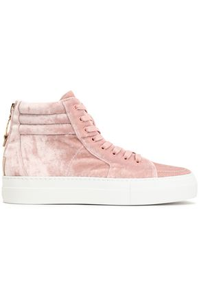 BUSCEMI Embellished velvet high-top sneakers