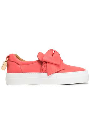BUSCEMI Bow-embellished leather slip-on sneakers