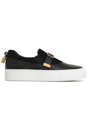BUSCEMI Suede and textured-leather sneakers