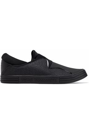 Y-3 Pebbled-leather and scuba slip-on sneakers