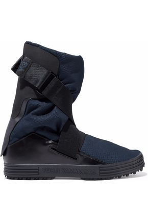 Y-3 Leather-paneled mesh boots