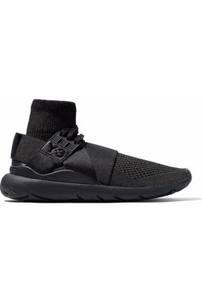 Y-3 +adidas Originals Elle macramé and ribbed-knit slip-on sneakers