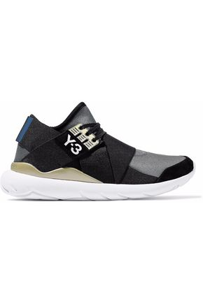 Y-3 Suede-trimmed color-block neoprene sneakers