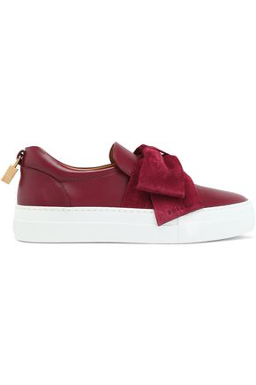 BUSCEMI Leather-trimmed bow-detailed satin slip-on sneakers