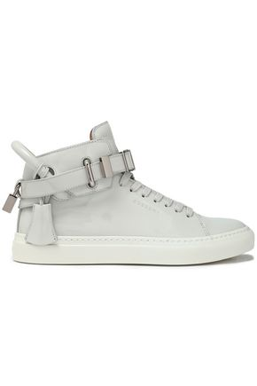Buscemi WOMAN EMBELLISHED TEXTURED-LEATHER HIGH-TOP SNEAKERS LIGHT GRAY