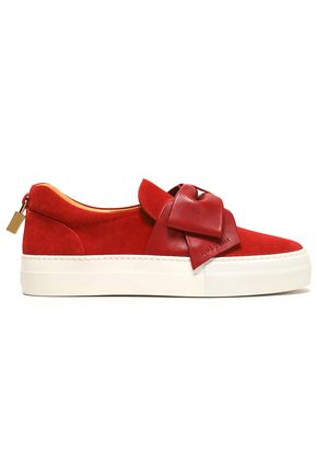 BUSCEMI Leather bow-embellished suede slip-on sneakers