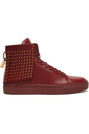 BUSCEMI Studded fringed leather high-top sneakers